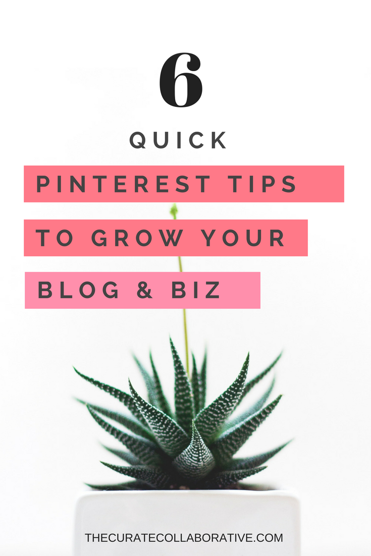6 QUICK PINTEREST TIPS TO GROW YOUR BLOG AND BUSINESS. I use these tips to massively increase my success on Pinterest, gain leads and followers and find more clients. These tips are fast, easy to learn & actionable. Click to learn more | thecuratecollaborative.com